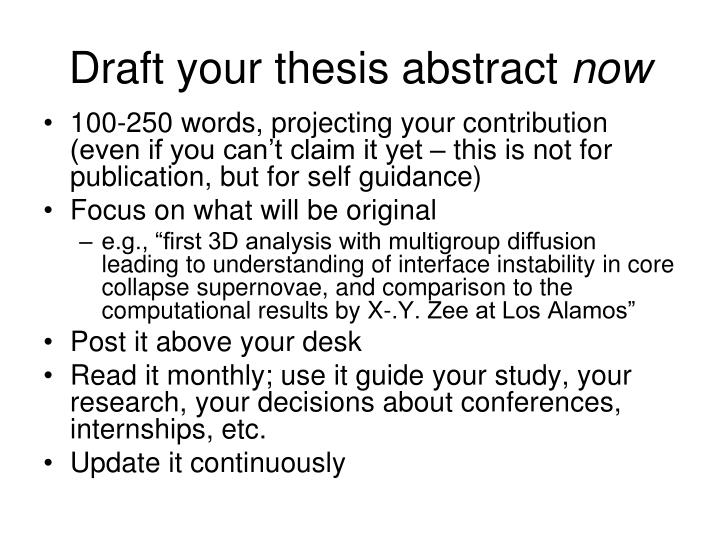 Draft your thesis abstract