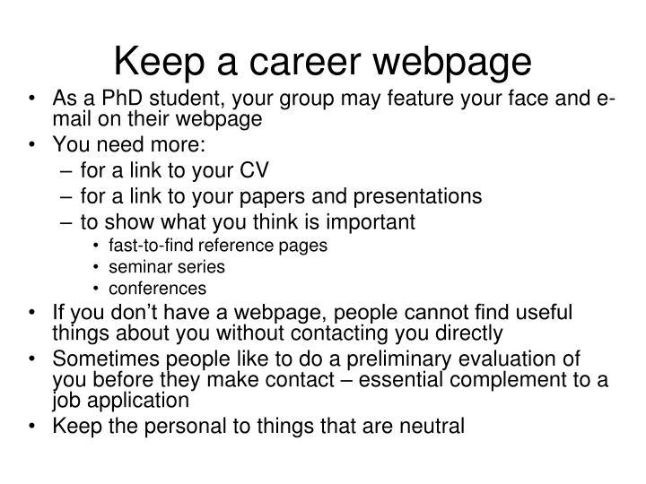 Keep a career webpage
