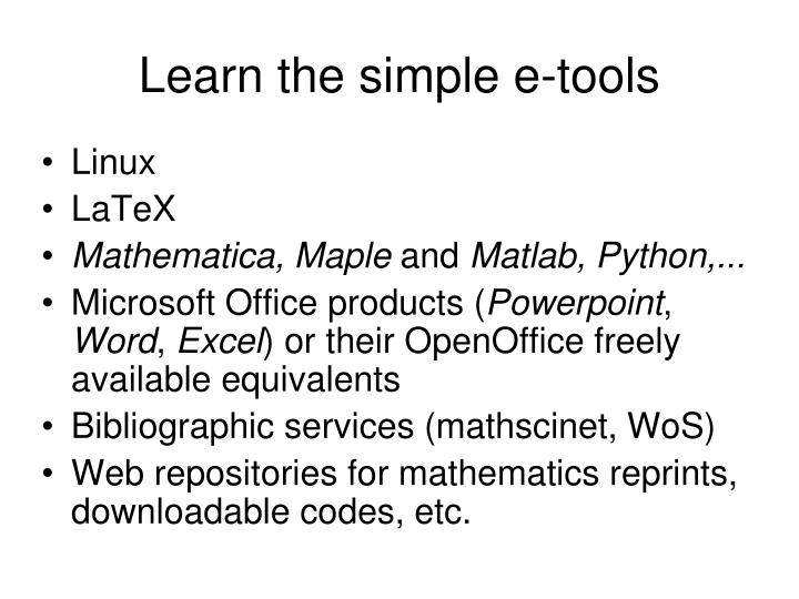 Learn the simple e-tools