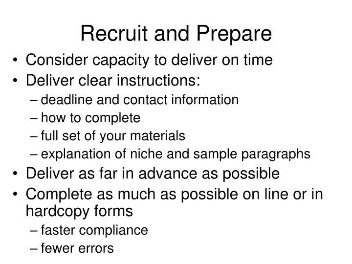 Recruit and Prepare