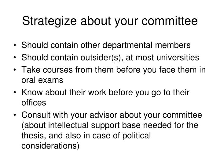 Strategize about your committee