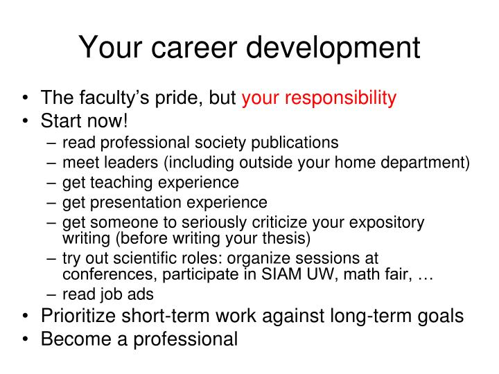 Your career development