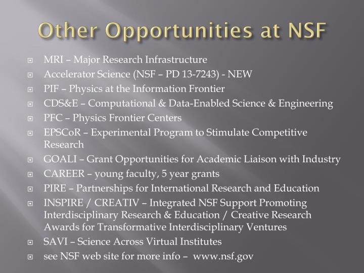 Other Opportunities at NSF