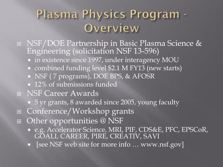 Plasma physics program overview