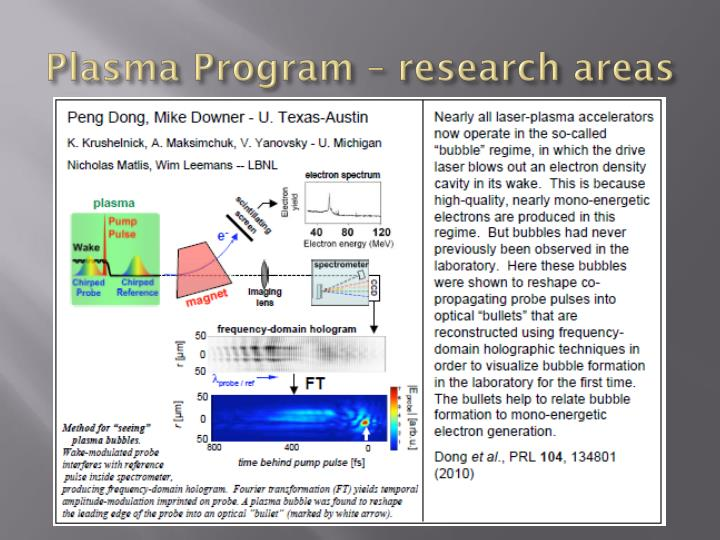 Plasma Program – research areas