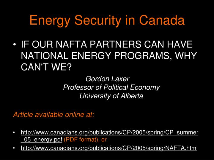 Energy Security in Canada