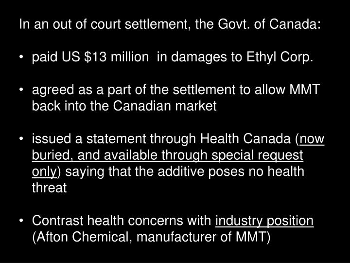 In an out of court settlement, the Govt. of Canada: