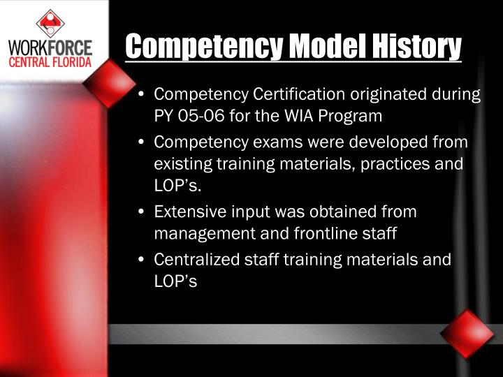 Competency Model History