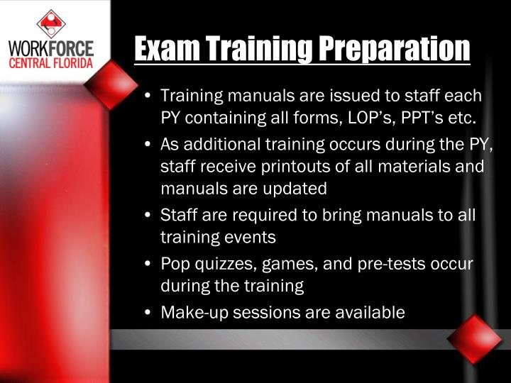 Exam Training Preparation