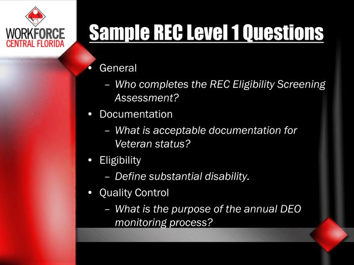 Sample REC Level 1 Questions