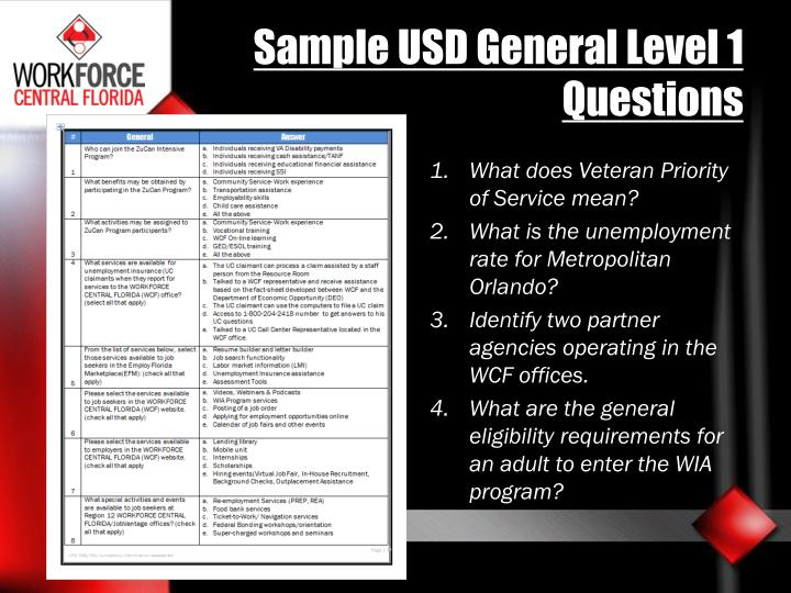 Sample USD General Level 1 Questions