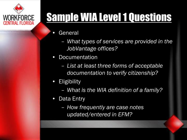 Sample WIA Level 1 Questions