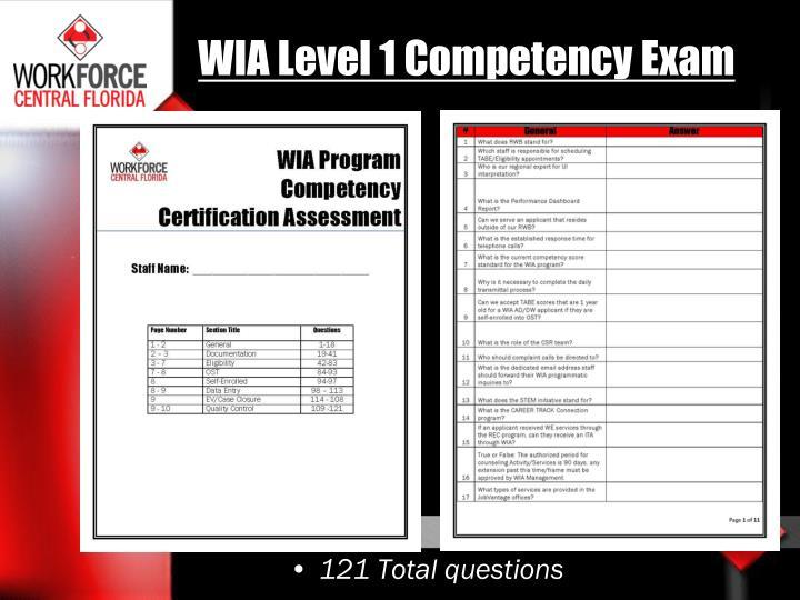WIA Level 1 Competency Exam