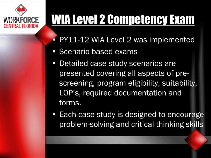 WIA Level 2 Competency Exam