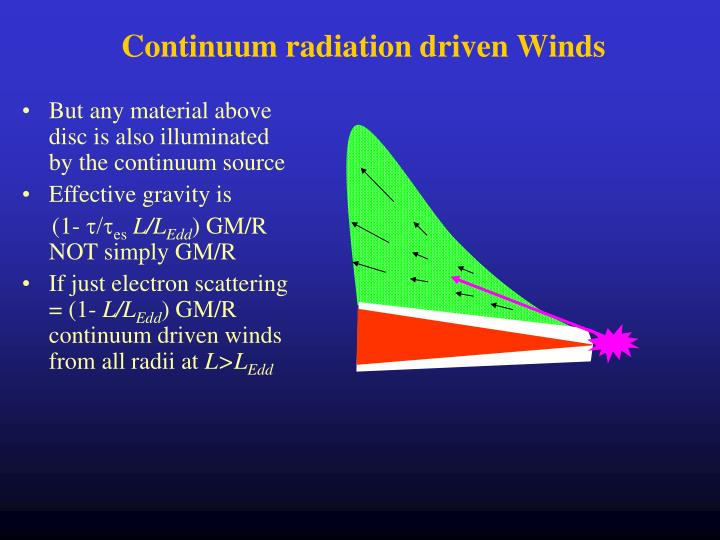 Continuum radiation driven Winds