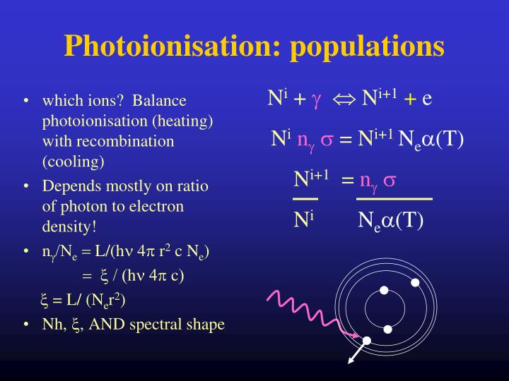 which ions?  Balance photoionisation (heating) with recombination (cooling)