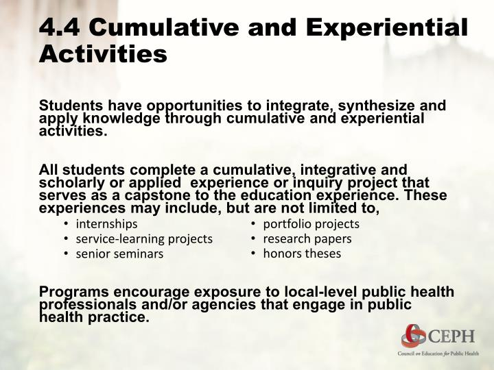 4.4 Cumulative and Experiential Activities