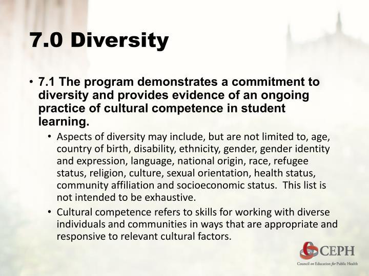 7.0 Diversity