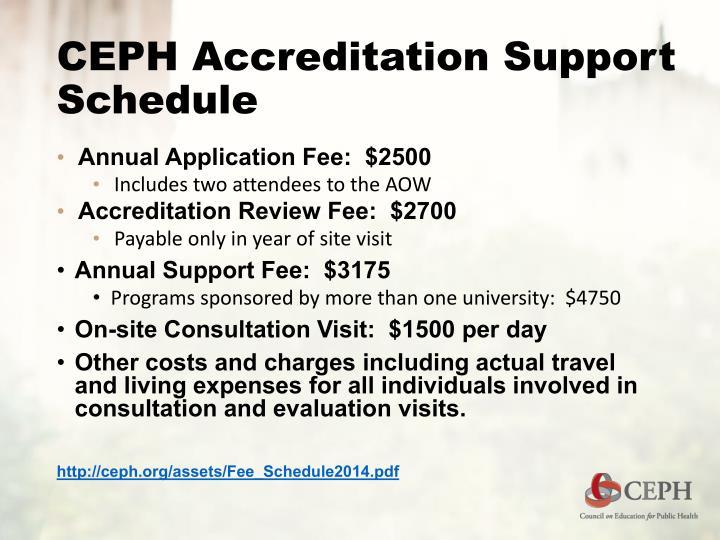 CEPH Accreditation Support Schedule