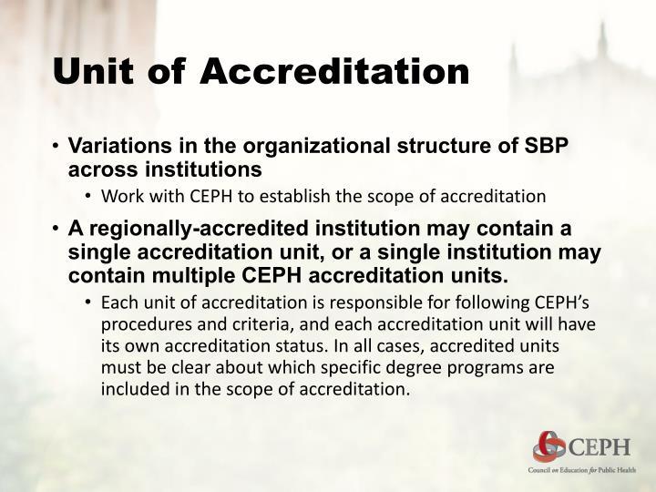 Unit of Accreditation