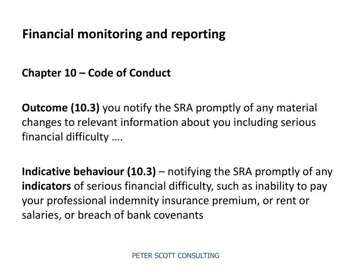 Financial monitoring and reporting