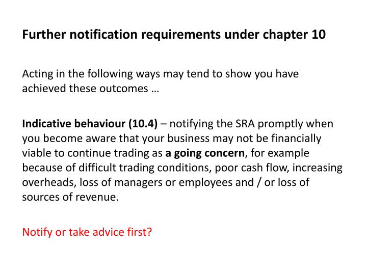 Further notification requirements under chapter 10