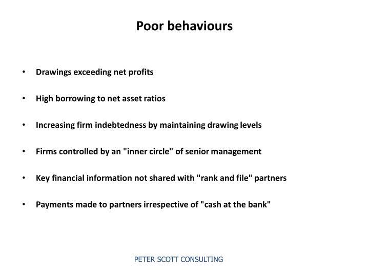 Poor behaviours
