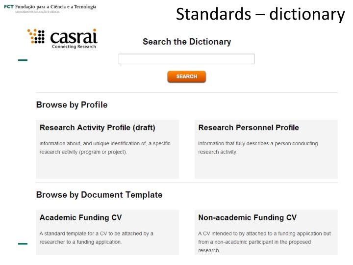 Standards – dictionary