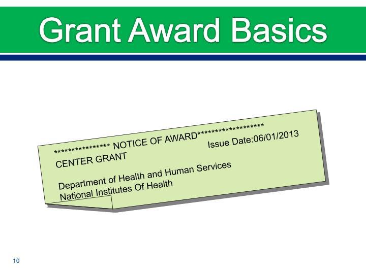 Grant Award Basics