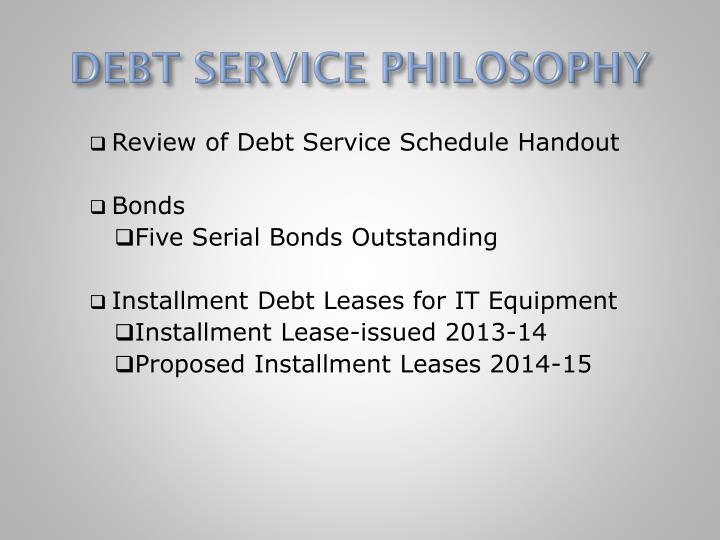 DEBT SERVICE PHILOSOPHY