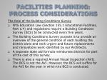 facilities planning process considerations