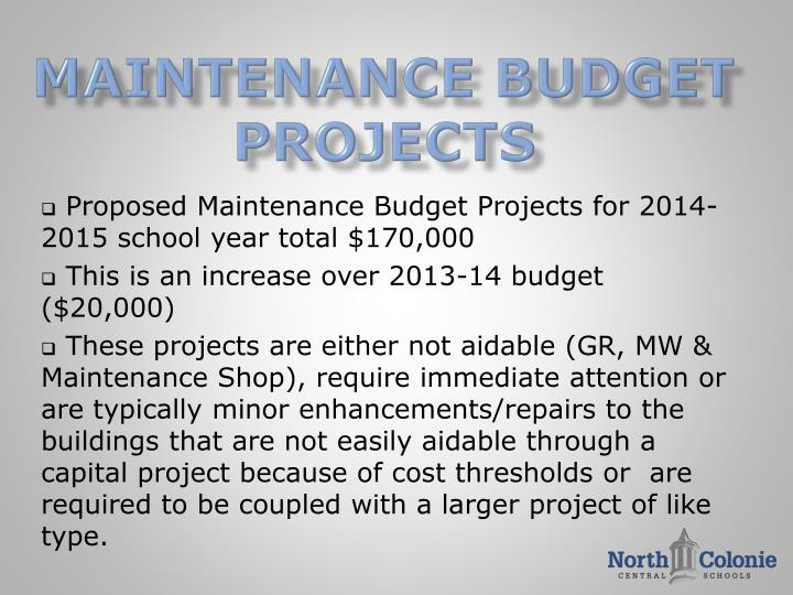 Maintenance BUDGET Projects