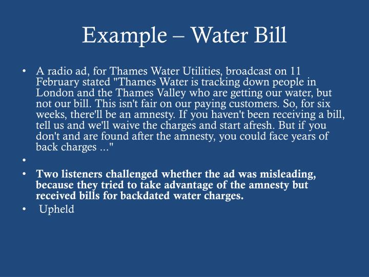 Example – Water Bill