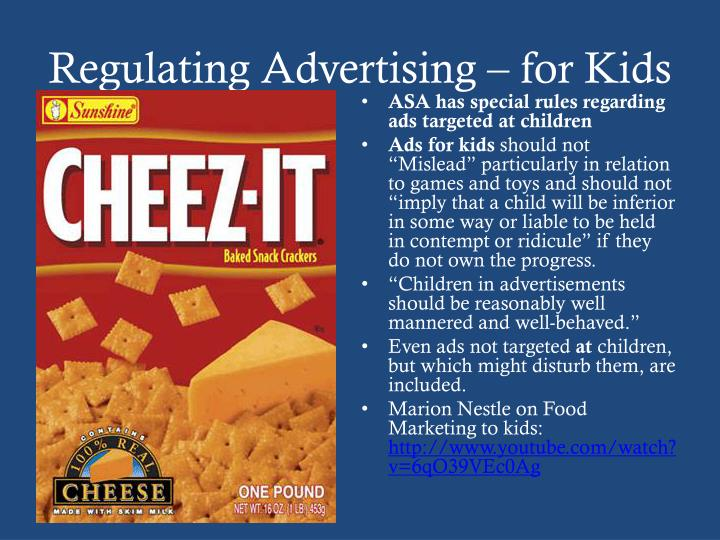 Regulating Advertising – for Kids