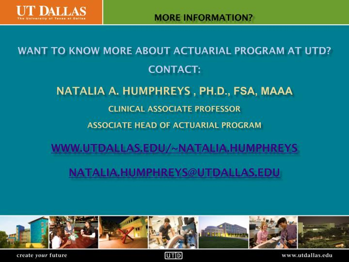 Want to know more about actuarial program at