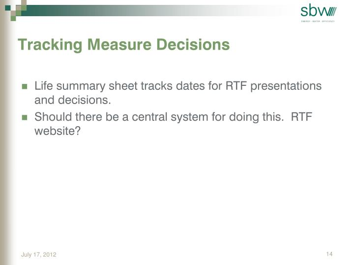 Tracking Measure Decisions