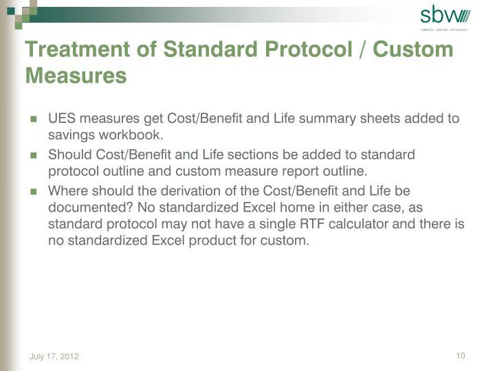 Treatment of Standard Protocol / Custom Measures