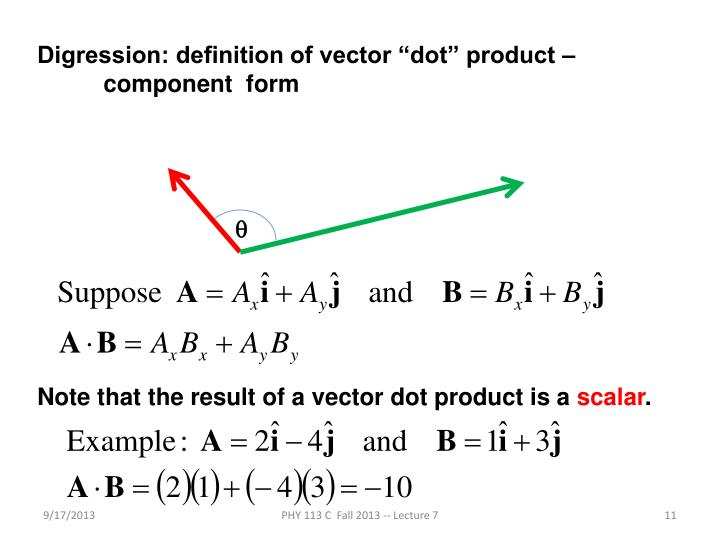 "Digression: definition of vector ""dot"" product –"