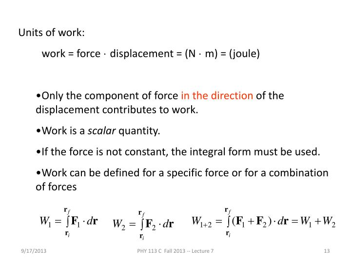 Units of work: