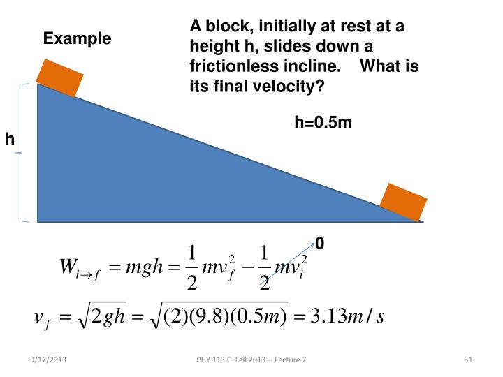 A block, initially at rest at a height h, slides down a frictionless incline.    What is its final velocity?