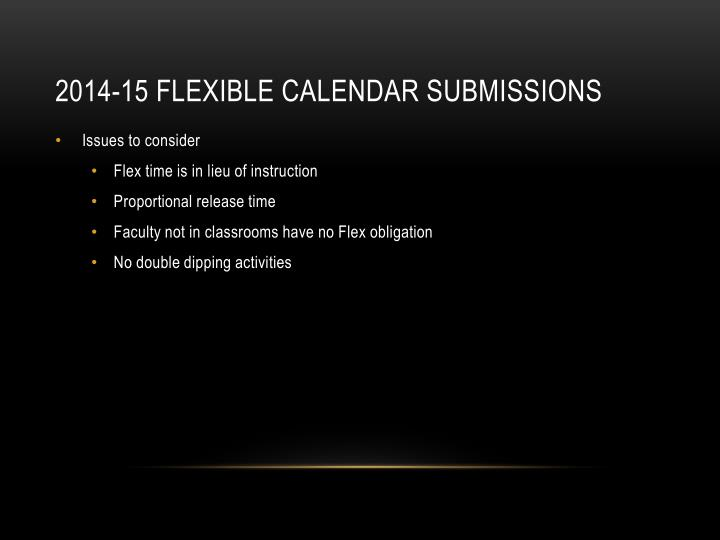 2014-15 Flexible Calendar Submissions