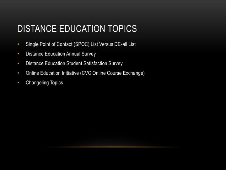 Distance education topics