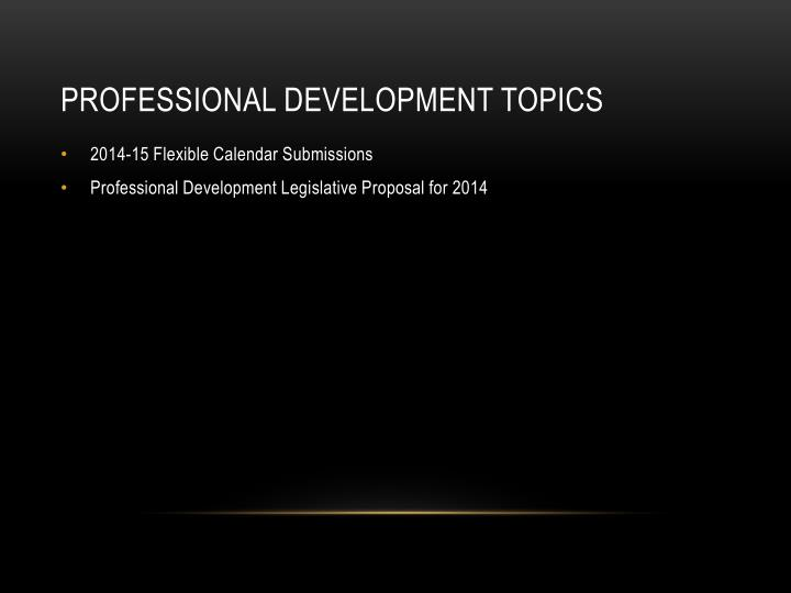 Professional Development Topics