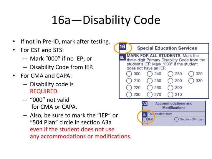 16a—Disability Code