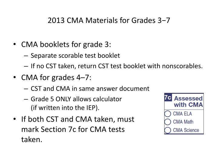 2013 CMA Materials for Grades 3−7