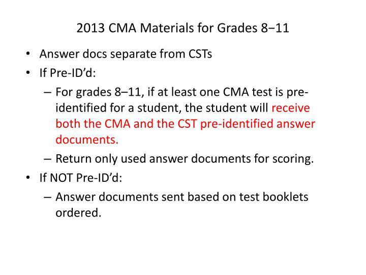 2013 CMA Materials for Grades 8−11