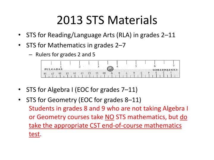 2013 STS Materials