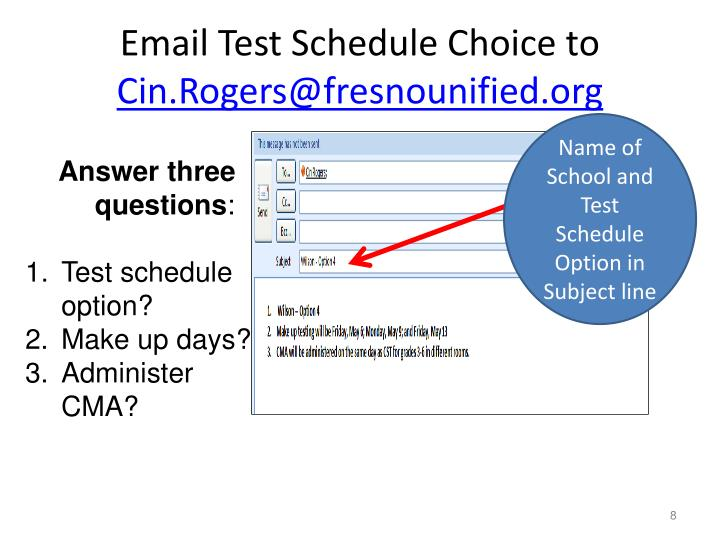 Email Test Schedule Choice to