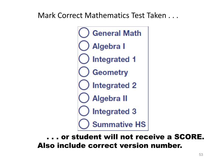 Mark Correct Mathematics Test Taken . . .