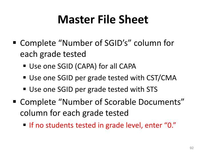 Master File Sheet